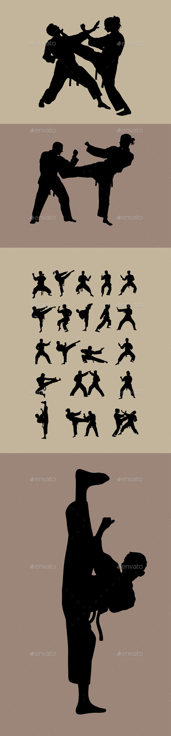 Taekwondo  Karate and Taekwondo Silhouettes - Sports/Activity Conceptual