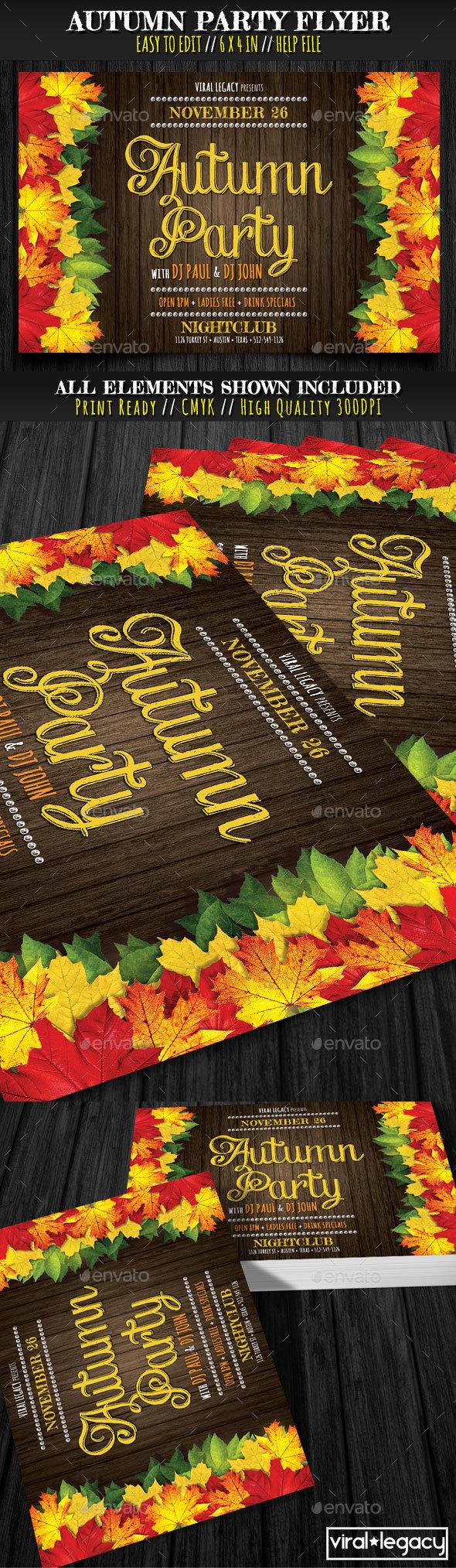Autumn Party Flyer - Flyers Print Templates
