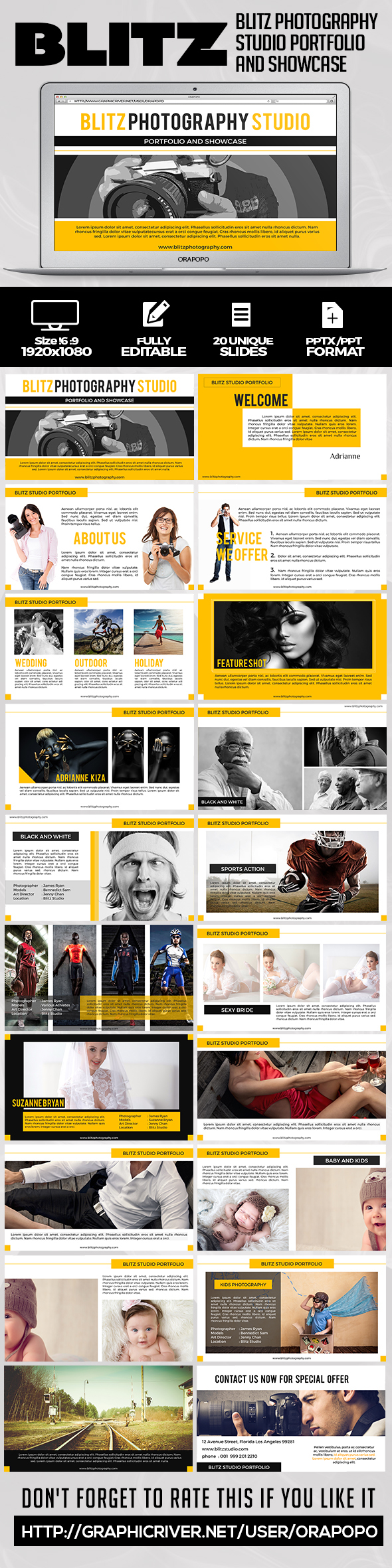 Blitz Photography Studio Portfolio and Showcase  - Creative PowerPoint Templates