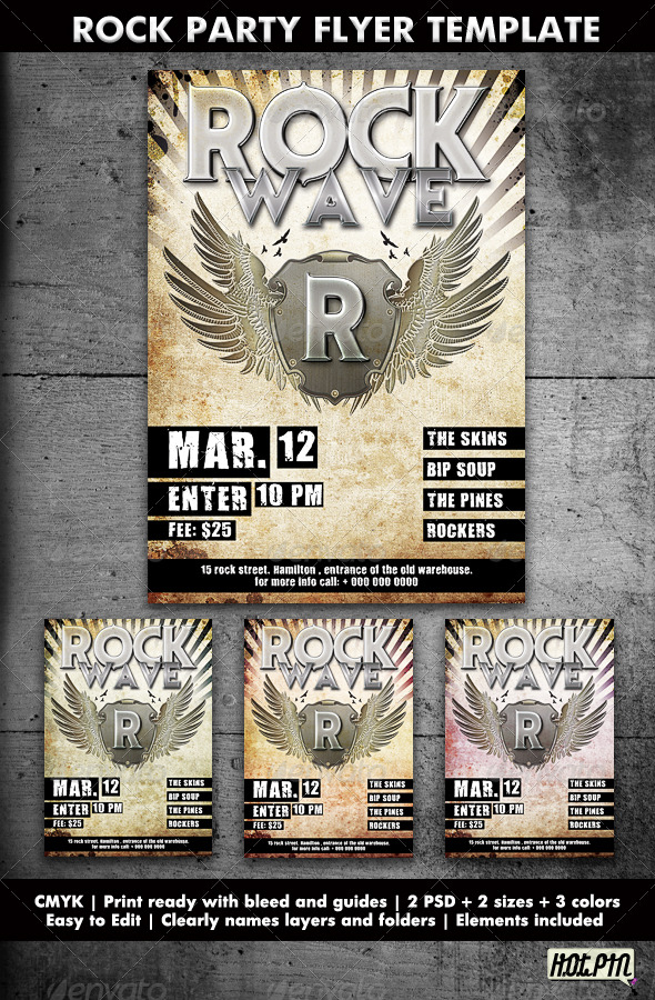 rock partyconcert flyer template clubs parties events