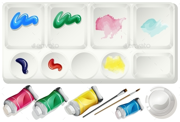 Watercolor Set with Paints and Brush - Miscellaneous Conceptual