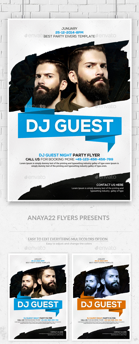 Guest Dj Party Flyer Psd Templates - Clubs & Parties Events