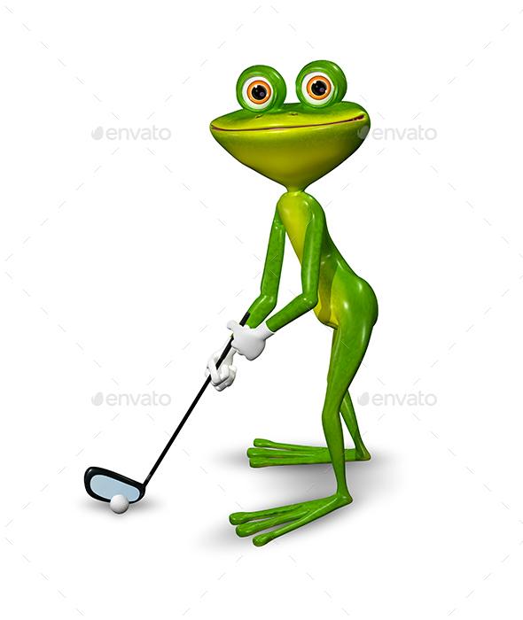 Frog golfer - Animals Illustrations