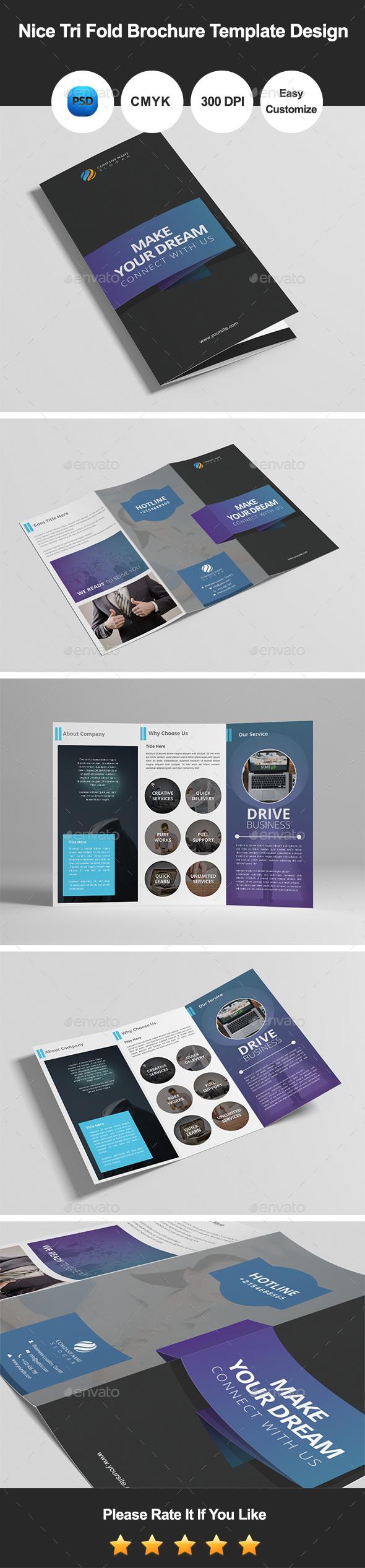 Nice Tri Fold Brochure Template Design - Informational Brochures