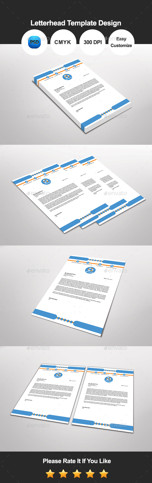 Blue and Letterhead Template Design - Proposals & Invoices Stationery