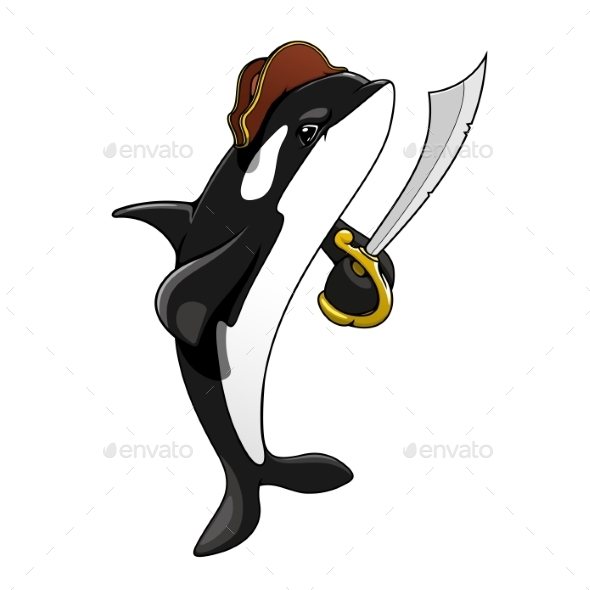 Cartoon Pirate Killer Whale With Sword - Animals Characters