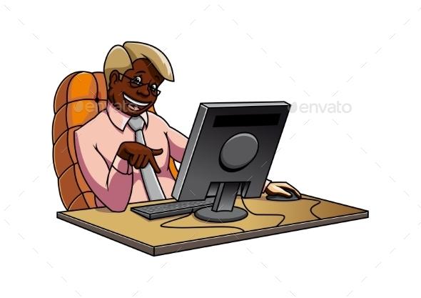 Cartoon Black Businessman In Office - People Characters