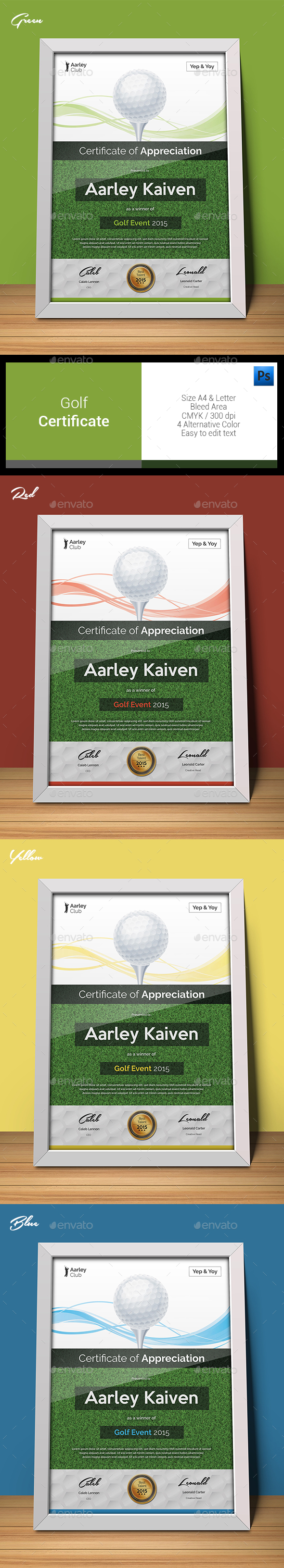 Golf Certificate - Certificates Stationery