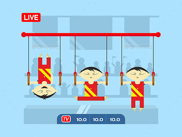 Chinese Gymnasts On Rings - People Characters