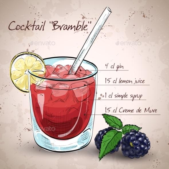 Alcoholic Cocktail Bramble - Backgrounds Decorative