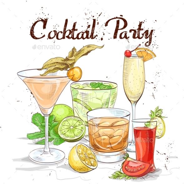 Contemporary Classics Cocktail Set Cocktail Party - Miscellaneous Vectors