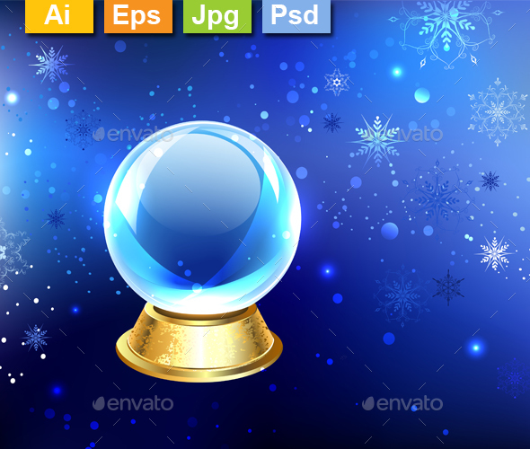 Snow Globe on a Blue Background - Christmas Seasons/Holidays