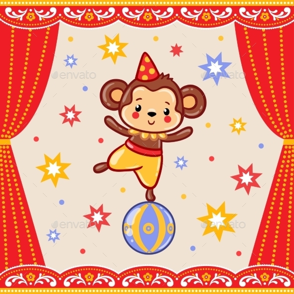 Circus Happy Birthday Card Design. - Animals Characters