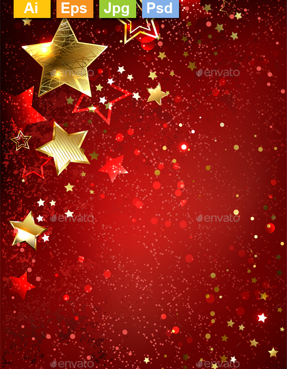 Gold Star on a Red Background - Backgrounds Decorative