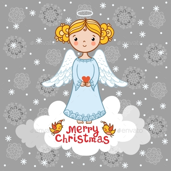 Christmas Card With An Angel. - Christmas Seasons/Holidays