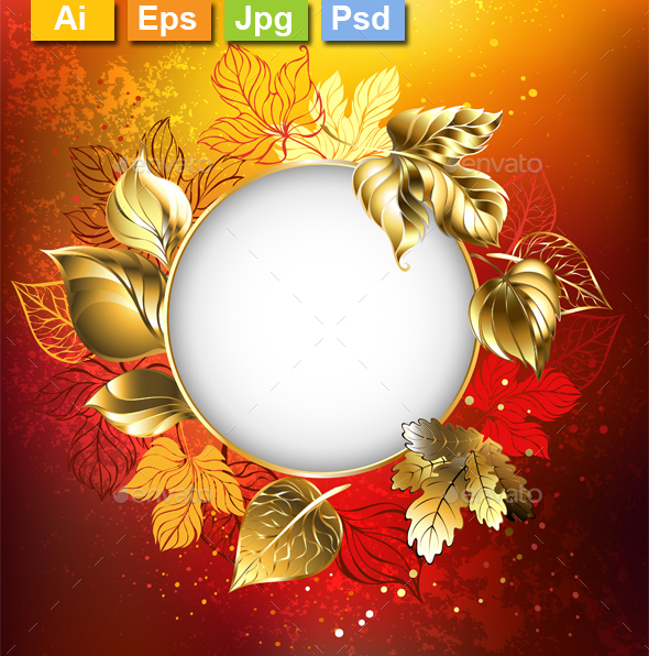 Autumn Banner with Golden Leaves - Borders Decorative