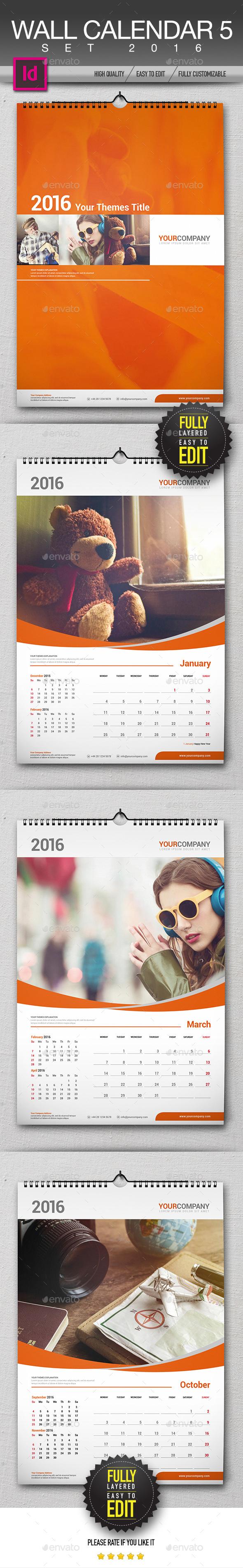 Wall Calendar 2016 Set - Calendars Stationery