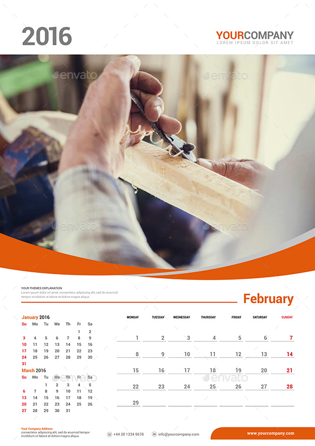 Wall Calendar 2016 Set By Olaylay | Graphicriver
