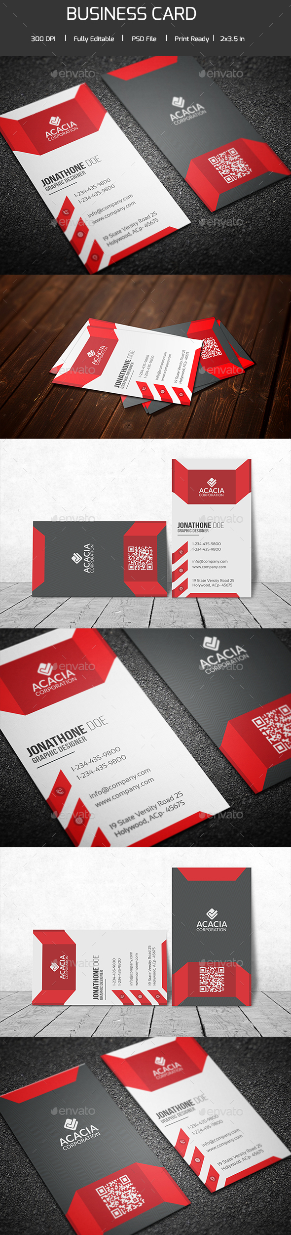 Modern Vertical Business Card - Corporate Business Cards