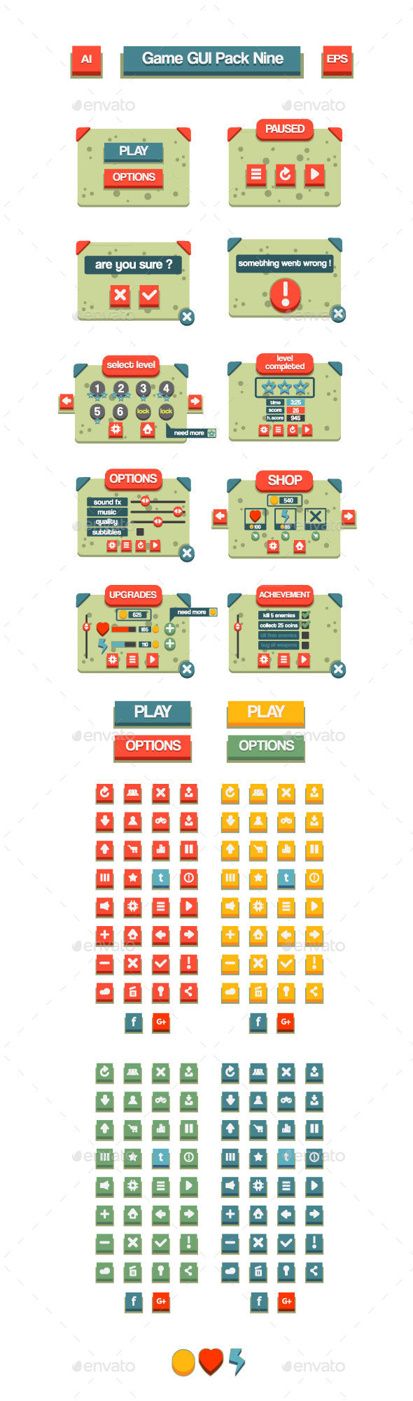 Game GUI Pack Nine - User Interfaces Game Assets