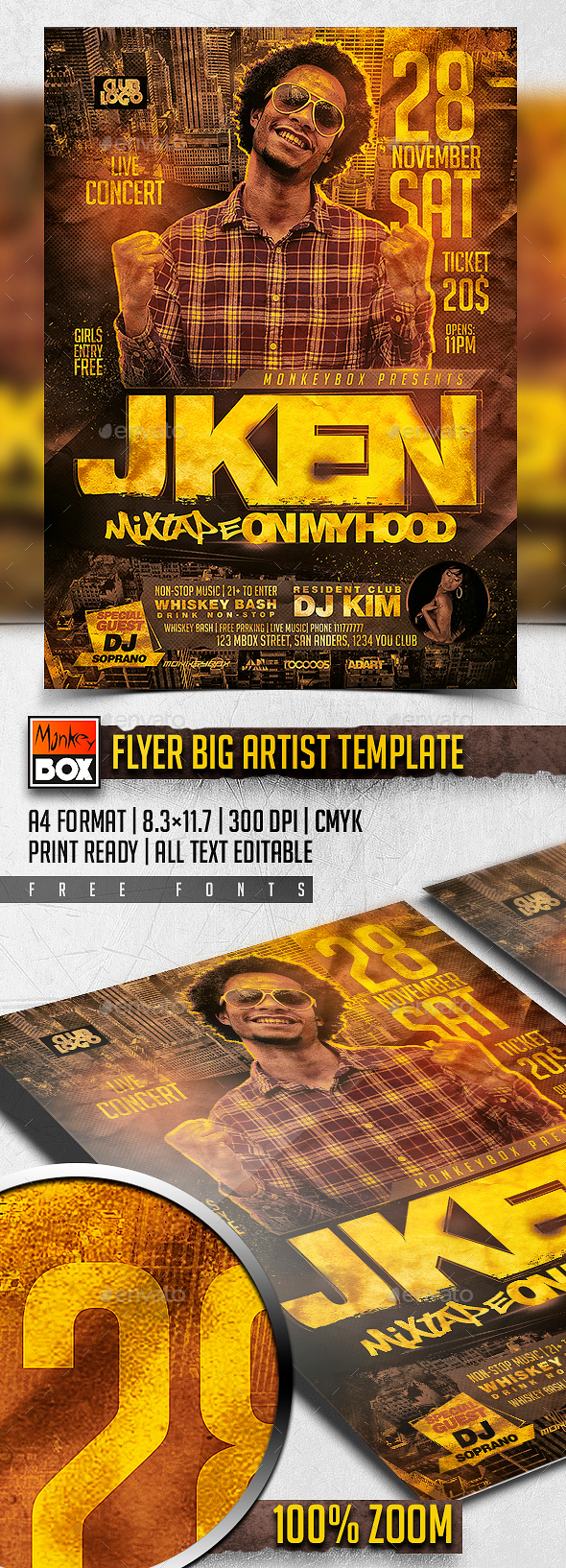 Flyer Big Artist Template - Clubs & Parties Events