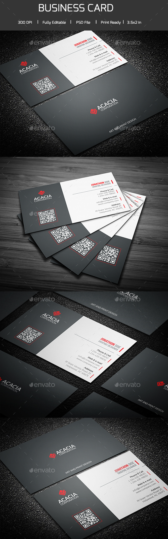 Acacia Simple Business Card V-02 - Corporate Business Cards
