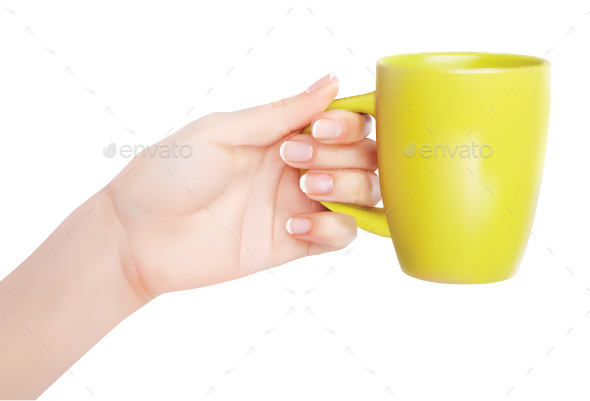 Hand Holding a Cup - Food Objects
