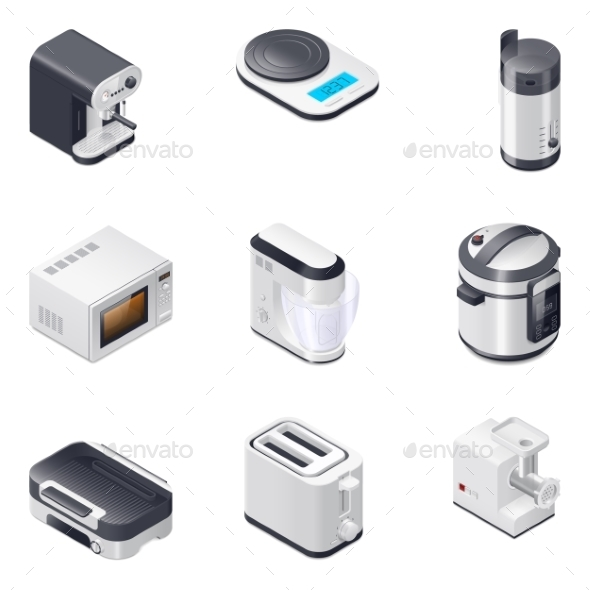 Household Appliances Detailed Isometric Icons Set - Miscellaneous Vectors
