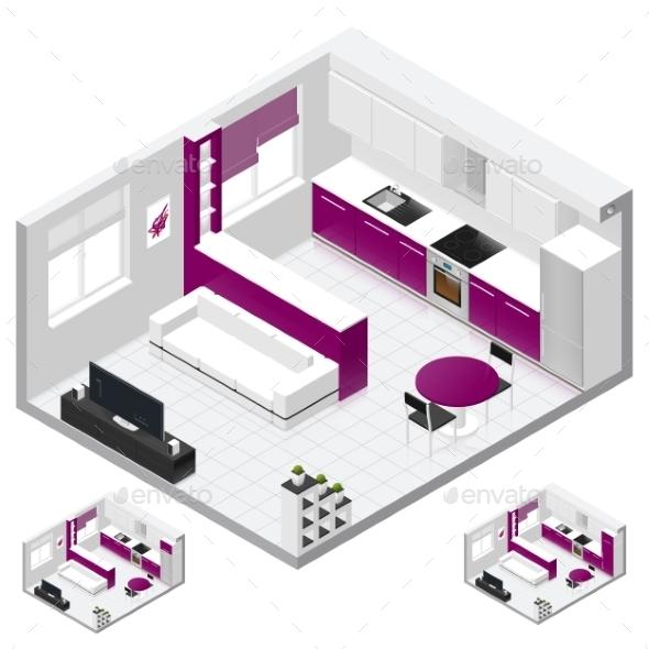 Studio Apartment Isometric Icon Set - Miscellaneous Vectors