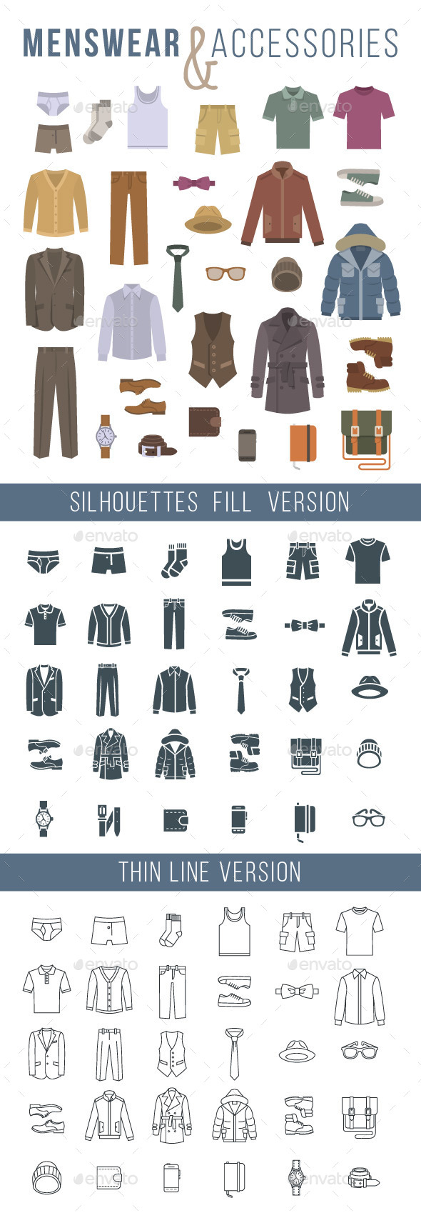Men Clothes and Accessories Flat Vector Icons - Objects Icons