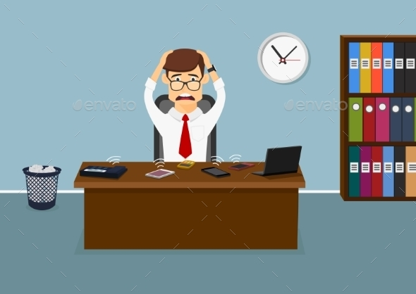 Stressful Businessman Has a Lot Telephone Calls  - Concepts Business