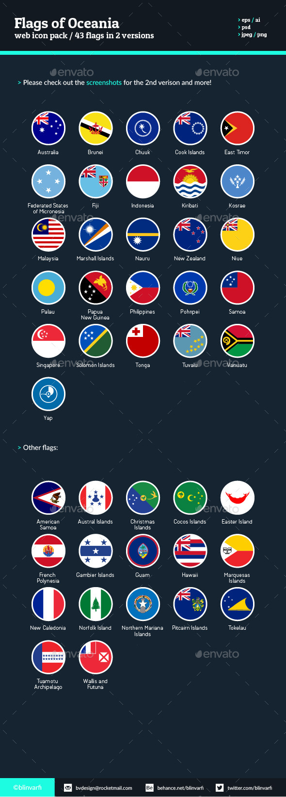 Flags of Oceania - Flat Icons - Web Icons