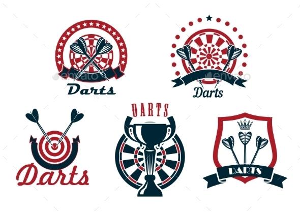 Darts Game Icons Or Symbols Set - Sports/Activity Conceptual