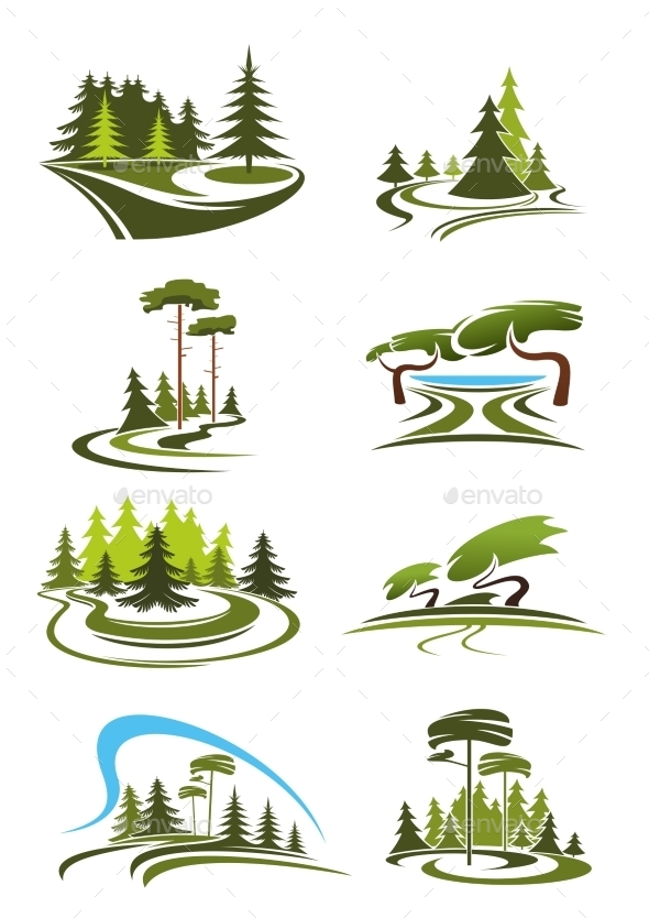 Park, Garden And Forest Landscape Icons - Landscapes Nature