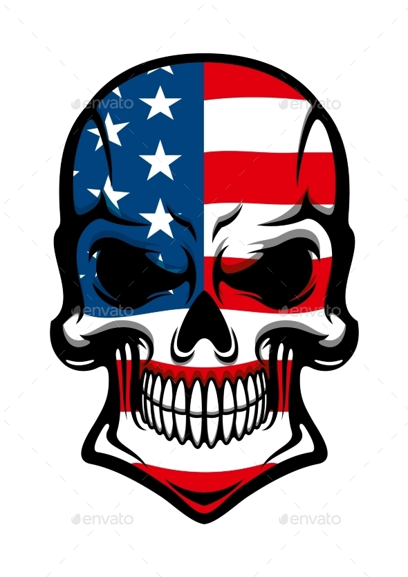 Danger Skull With American Flag Pattern - Tattoos Vectors