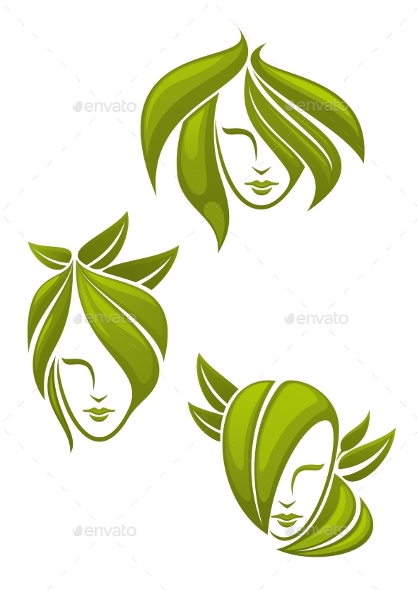 Abstract Portraits Of Women With Green Leaves - Health/Medicine Conceptual