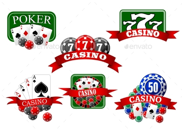 Casino, Jackpot And Poker Gambling Icons - Objects Vectors