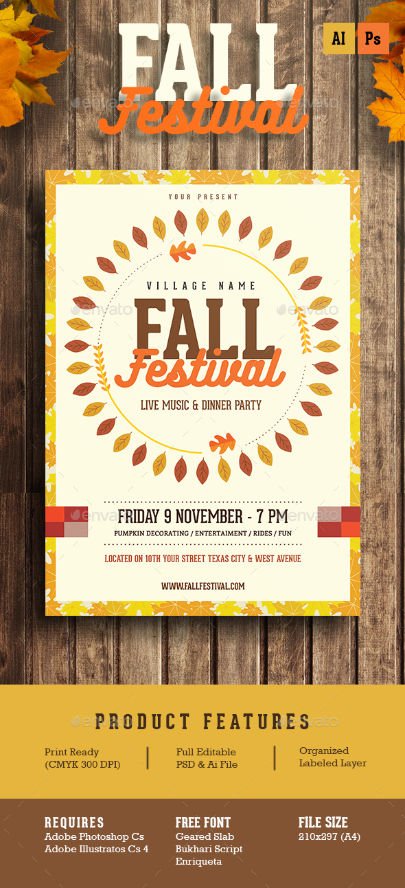 fall festival flyer by guuver graphicriver. Black Bedroom Furniture Sets. Home Design Ideas