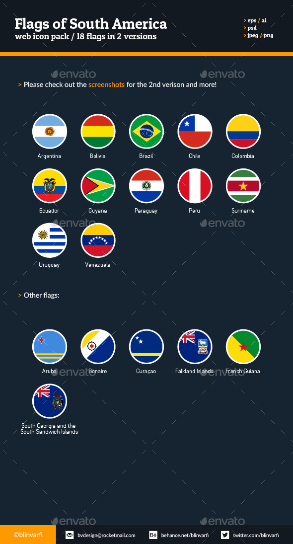 Flags of South America - Flat Icons - Icons