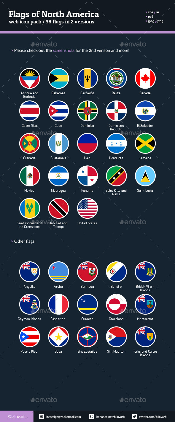 Flags of North America - Flat Icons - Web Icons