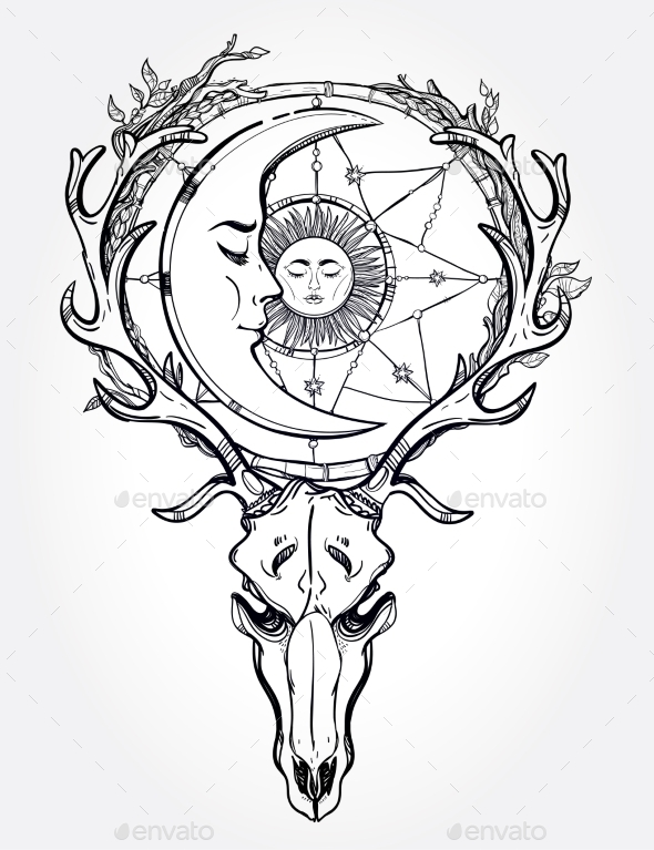 Tattoo Line Drawing Software : Scull with sleeping moon line art by itskatjas graphicriver