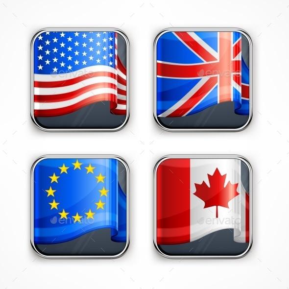 Flag Square Icons - Miscellaneous Vectors