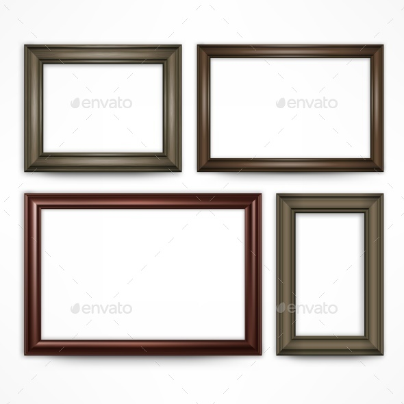 Wooden Frames on White - Miscellaneous Vectors