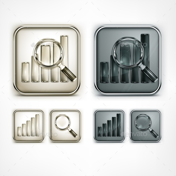Magnifying Glass and Chart Icons - Miscellaneous Vectors