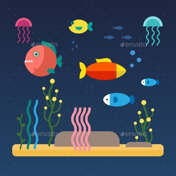 Fishes Swimming At The Sea Bottom - Animals Characters