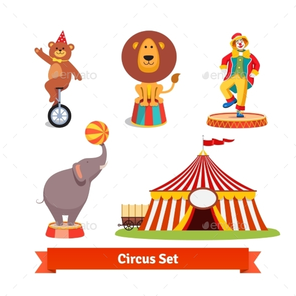 Circus Animals, Bear, Lion, Elephant, Clown - Animals Characters