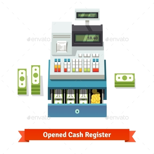 Opened Cash Register, Paper Money And Coins Inside - Retail Commercial / Shopping