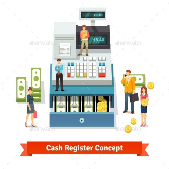 People Standing Near An Opened Cash Register - Business Conceptual