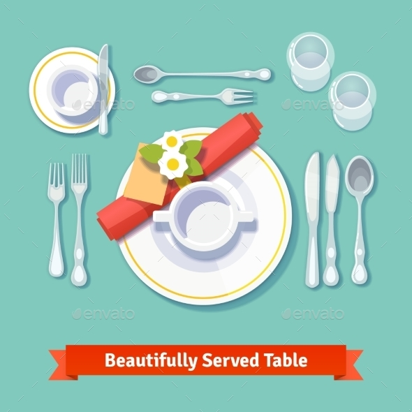 Beautifully Served Table. Formal Dinner Setting - Objects Vectors