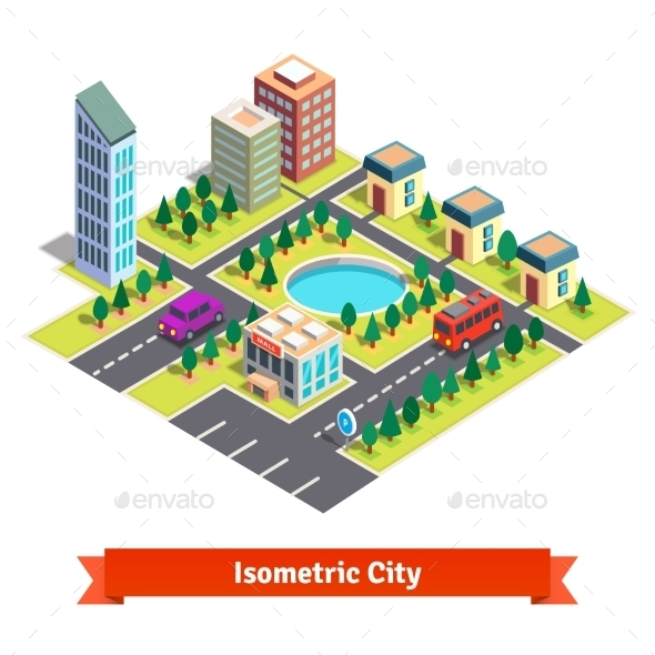 Isometric City With Skyscrapers And Transportation - Buildings Objects
